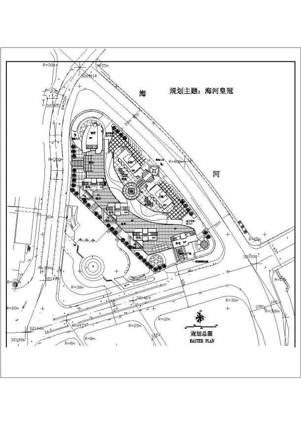 长沙市香山湖园居住区总平面规划设计CAD图纸(占地2.2万平米)-图一