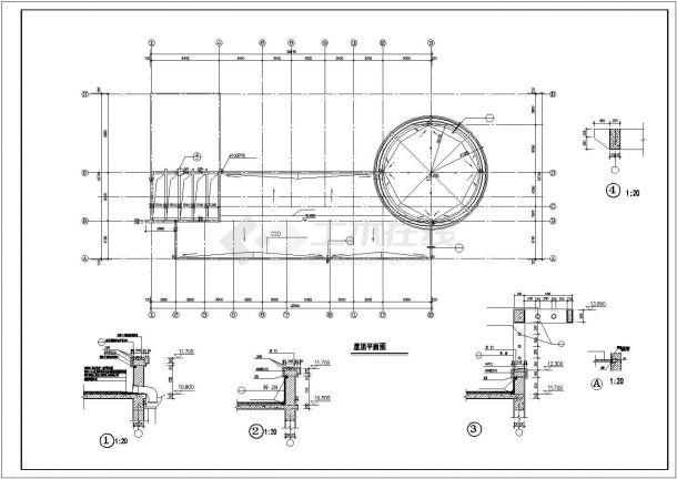 惠州市洋河小区1500平米3层框架结构小区会所全套建筑设计CAD图纸-图一