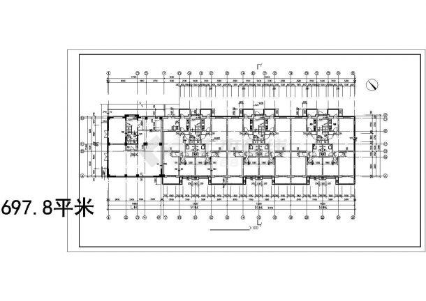 西安市诚馨花园小区6层组合式民居住宅楼平面设计CAD图纸(2套方案)-图二