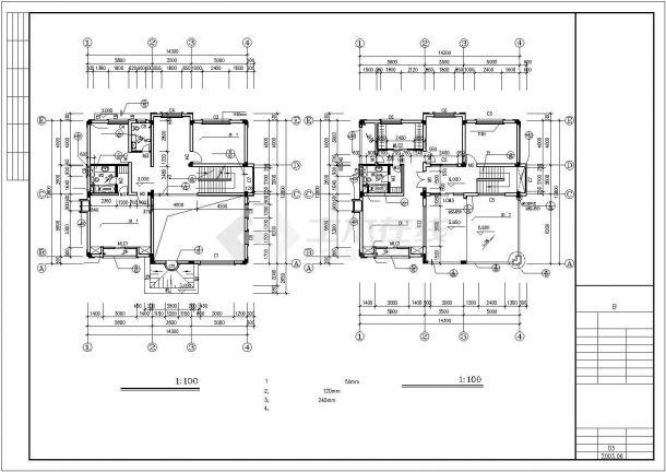 丽江市瑞郦小区440平三层砖混结构住宅楼建筑设计CAD图纸(含地下室)-图一