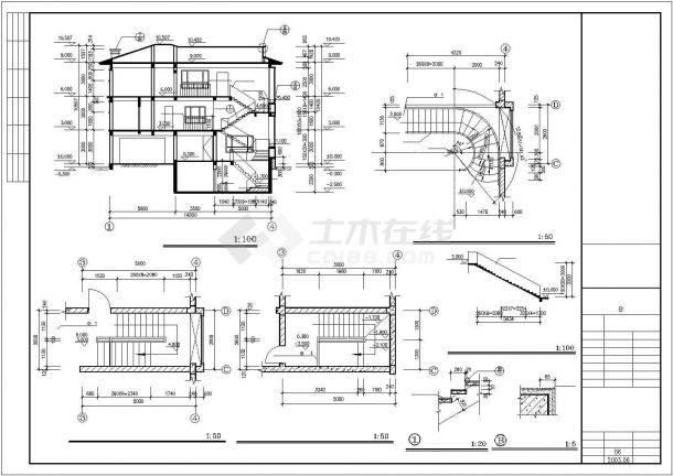 丽江市瑞郦小区440平三层砖混结构住宅楼建筑设计CAD图纸(含地下室)-图二