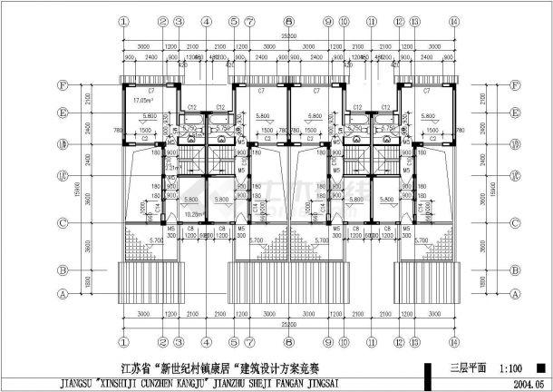 镇江市唐馨华苑小区三层砖混结构民居住宅楼建筑设计CAD图纸-图一