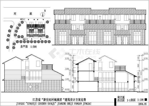 镇江市唐馨华苑小区三层砖混结构民居住宅楼建筑设计CAD图纸-图二