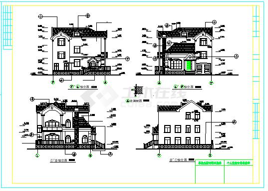 某二层欧式独栋别墅建筑cad设计图(300平方米)-图一
