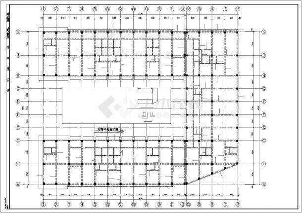 某地区框架结构贸易中心建筑设计施工CAD图纸-图一