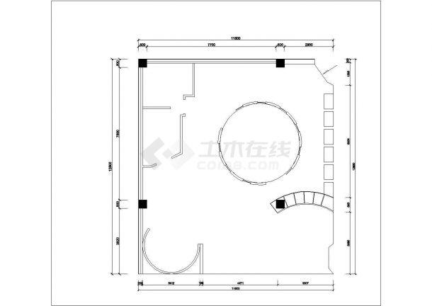 某欧雅壁纸专卖店室内装修设计cad全套施工图-图一