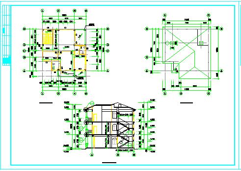 某三层欧式独栋别墅建筑cad设计图纸-图一