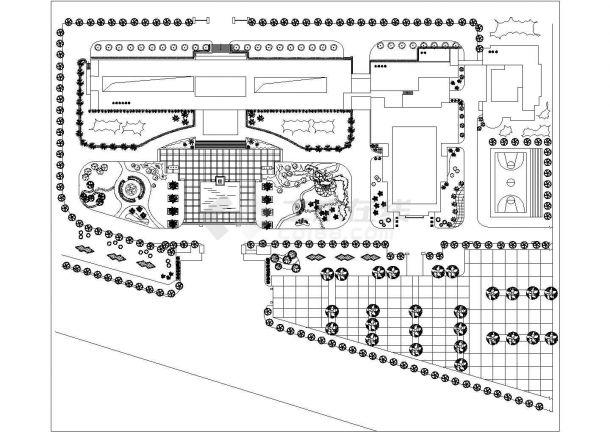 某多层住宅小区景观绿化规划设计cad总平面施工图纸-图一