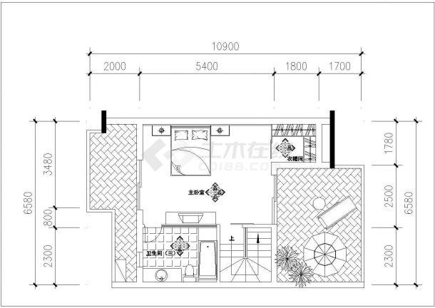 某蝶舞飞扬户型-复式住宅室内装修设计cad详细施工图-图一