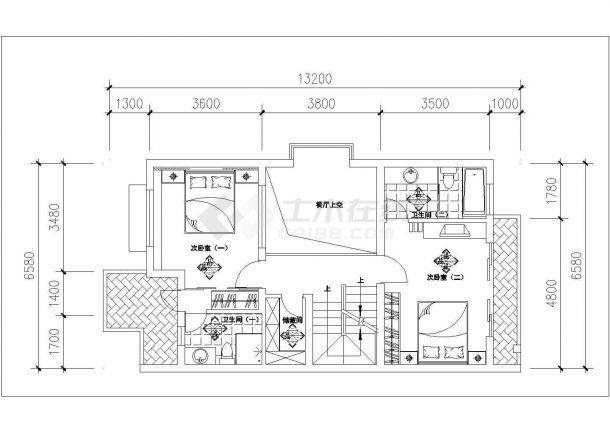 某蝶舞飞扬户型-复式住宅室内装修设计cad详细施工图-图二