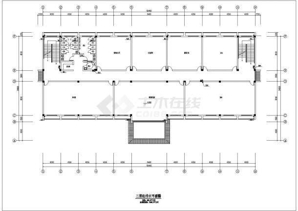 社区配套用房、文化大礼堂、岗亭给排水设计CAD图-图二