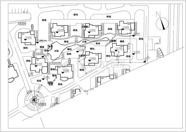 某河畔花园绿化规划设计cad施工总平面图-图一