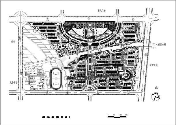 某大型高档住宅区景观规划设计cad总平面施工图-图一