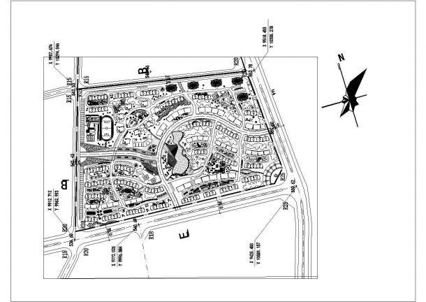 某现代多层高档住宅小区绿化规划设计cad总平面方案图纸-图一