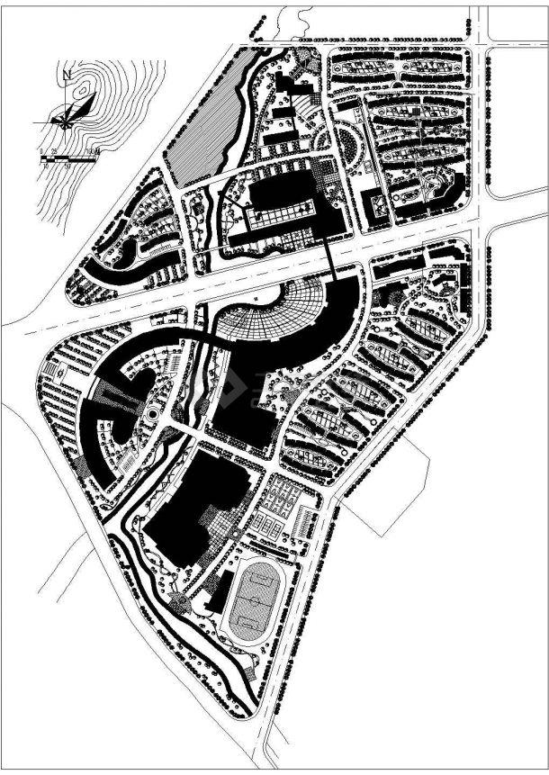 某开发区多层高档住宅小区规划设计cad总平面施工图-图一