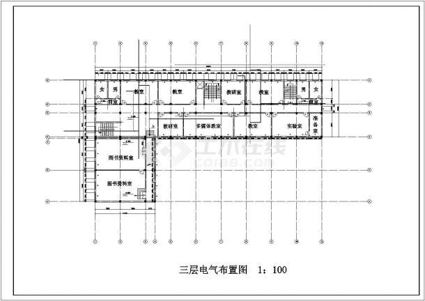 北京市某私立中学3层教学楼平面电气+给排水设计CAD图纸-图一