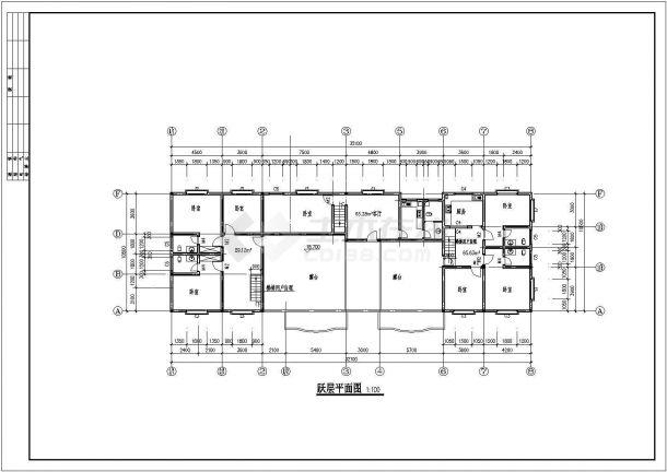 蝴蝶园小区多层住宅楼全套建筑设计施工cad图-图二