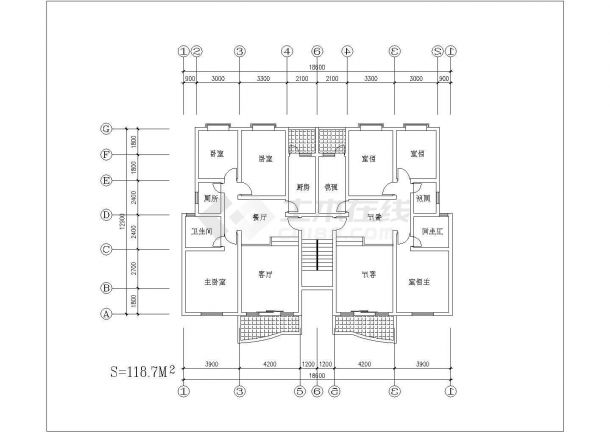一梯两户户型公寓楼全套施工设计cad图纸(含标准层平面图)-图一