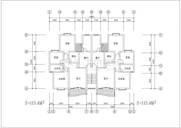 一梯两户户型公寓楼全套施工设计cad图纸(含标准层平面图)-图二