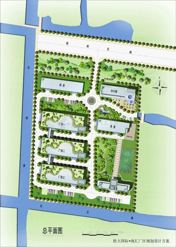 上海某建筑物圆林规划设计jpg施工总平面图(含效果图)-图一
