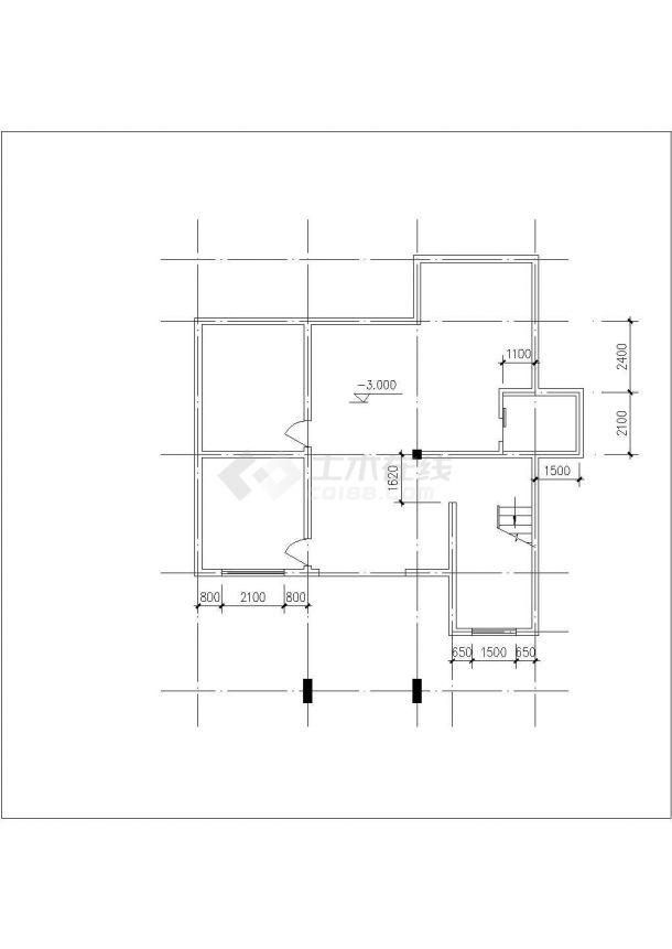 合肥某小区2层混合结构独栋别墅建筑结构设计CAD图纸(含地下室和阁楼)-图一