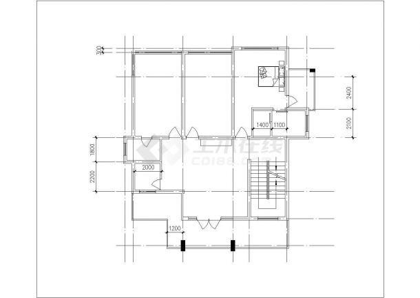 合肥某小区2层混合结构独栋别墅建筑结构设计CAD图纸(含地下室和阁楼)-图二