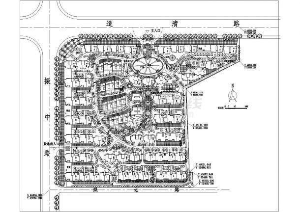 某高档多层住宅小区详细规划设计cad总平面施工图-图一