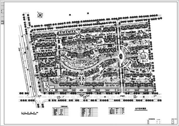 某大型多层住宅小区详细规划设计cad总平面布置图(含主要经济指标)-图一