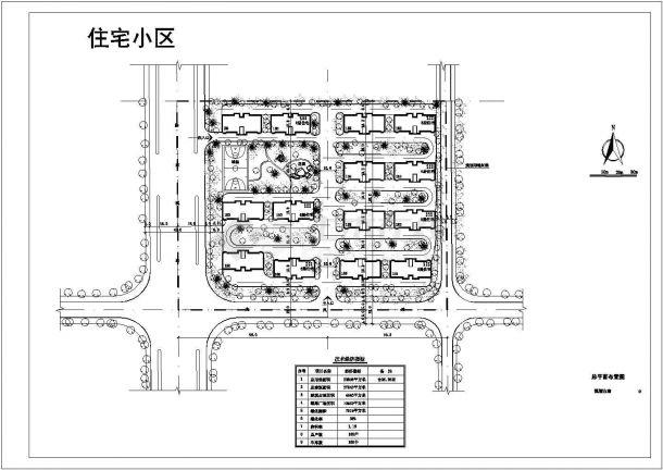某高品质多层住宅小区景观规划设计cad总平面方案图(含技术经济指标)-图一