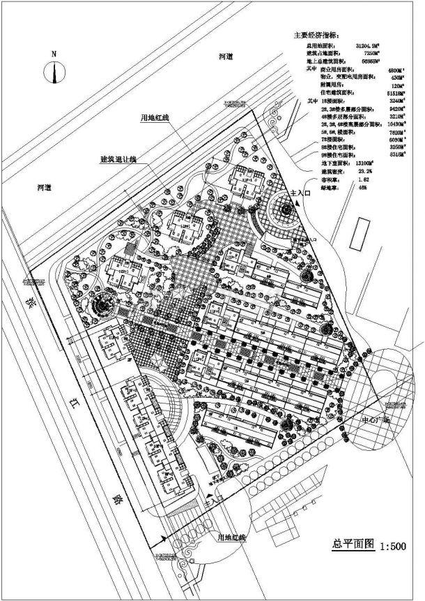 某多层高档住宅小区详细规划设计cad总平面方案图(含主要经济指标)-图一