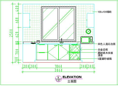 卫生间室内装修cad立面大样设计图-图一
