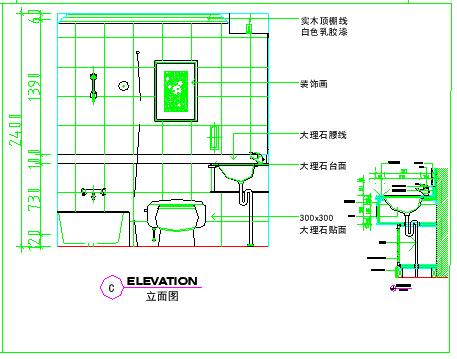 卫生间室内装修cad立面大样设计图-图二