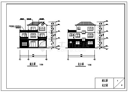某三层砖混结构现代小别墅建筑施工cad图_别墅施工-图一