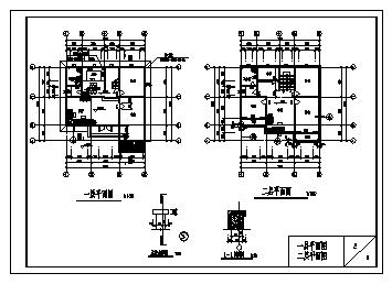 某三层砖混结构现代小别墅建筑施工cad图_别墅施工-图二