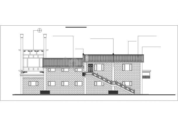 扬州市某仿古街337平米2层框架结构商业楼建筑设计CAD图纸-图二