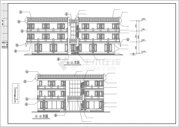 西安市某知名通讯公司3层框架结构营业厅全套建筑设计CAD图纸-图二