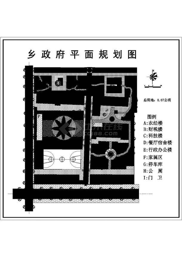 某乡政府办公区详细规划设计cad施工总平面图-图一