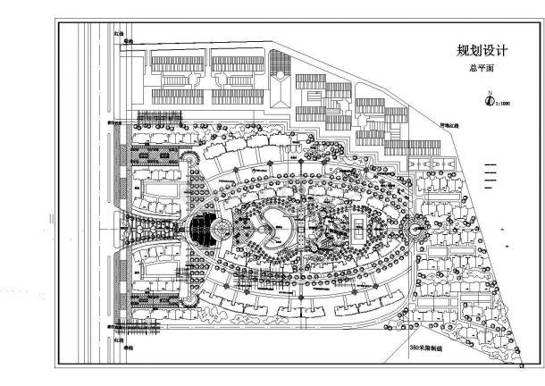 某高级多层框架结构住宅小区规划设计cad总平面方案图(含经济技术指标)-图一