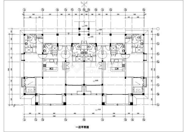 酒店式多层公寓楼全套建筑施工设计cad图(含屋顶平面图)-图一