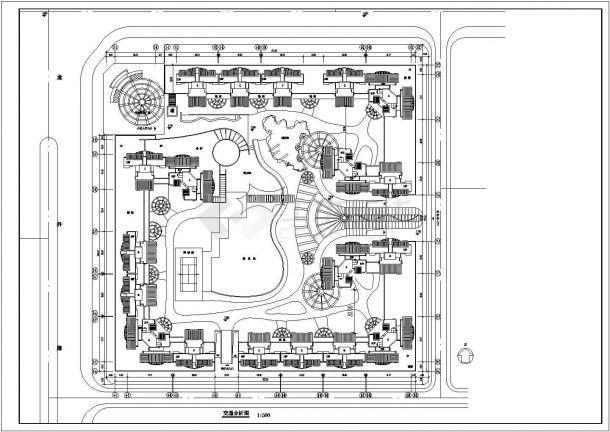 高层住宅小区平面规划施工设计cad图(含总平面图,交通分析图)-图二