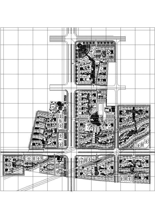 某大型高档生态住宅小区规划设计cad总平面施工图-图一