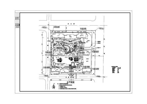 新贵府邸小区详细规划设计cad施工总平面图(含经济技术指标)-图一