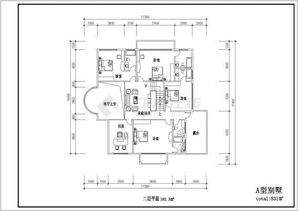 某三层框架结构现代风格别墅设计cad建筑方案图(含11套设计)-图二