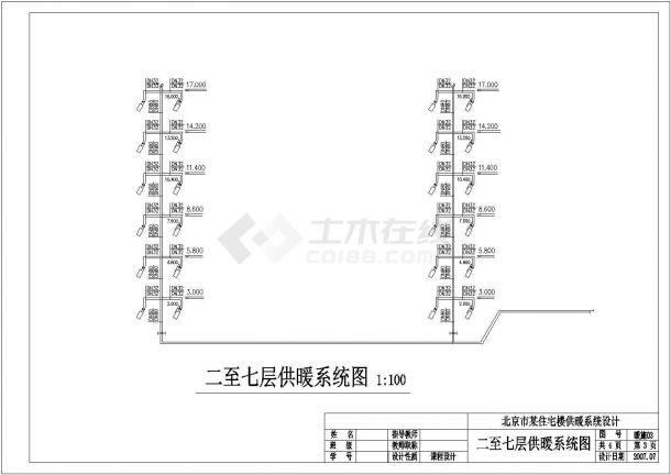 杭州市某社区7层住宅楼内部低温地板辐射采暖系统设计CAD图纸-图一