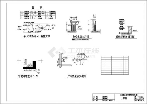 杭州市某社区7层住宅楼内部低温地板辐射采暖系统设计CAD图纸-图二
