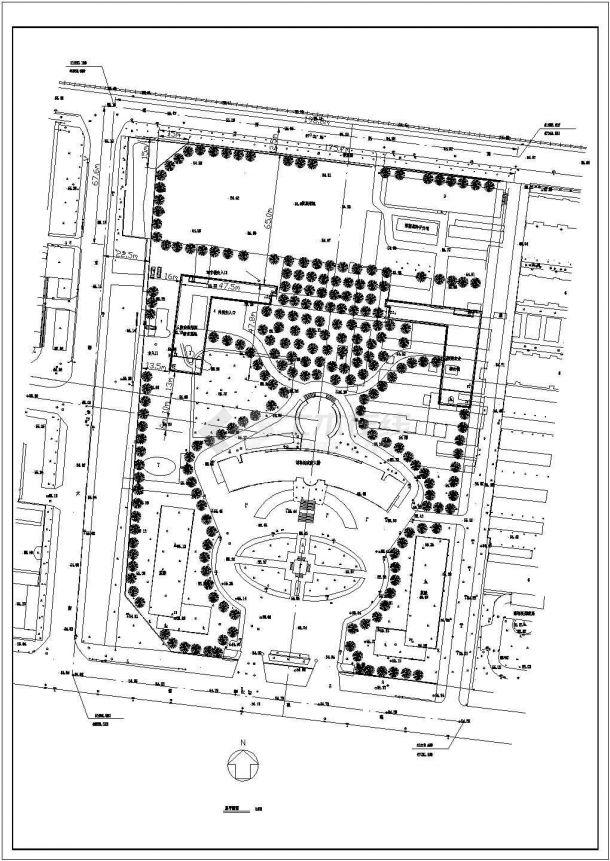 某政府大楼办公区详细规划设计cad总平面施工图-图一