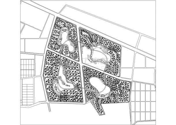 涿州某高档别墅区绿化规划设计cad总平面施工图-图一