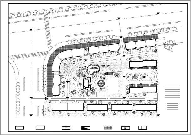 某综合居住区组团规划设计cad总平面施工图-图一
