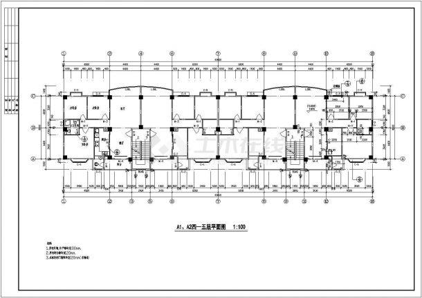 7层底商住宅全套建筑设计施工图-图二
