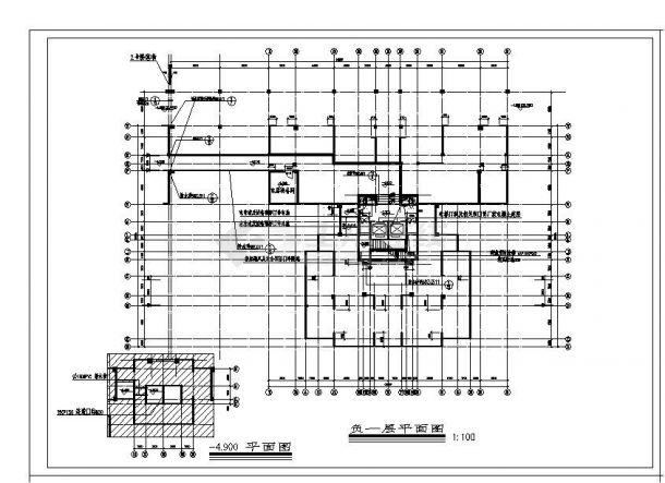 某高层电梯点式住宅楼结构设计图CAD规划详图-图一